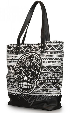 Loungefly White/Black Canvas Tote with Skull Applique front side