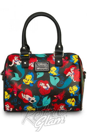 Loungefly Disney Little Mermaid Classic Print Pebble Crossbody Duffle front