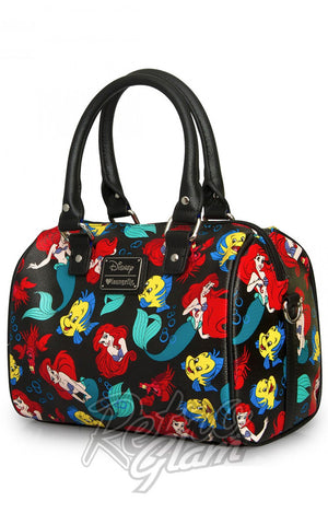 Loungefly Disney Little Mermaid Classic Print Pebble Crossbody Duffle front side