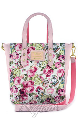 Loungefly The Beauty and the Beast Character Floral Print Tote Bag