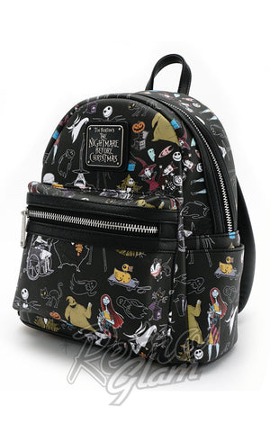 Loungefly Disney Nightmare Before Christmas All Character Mini Backpack side