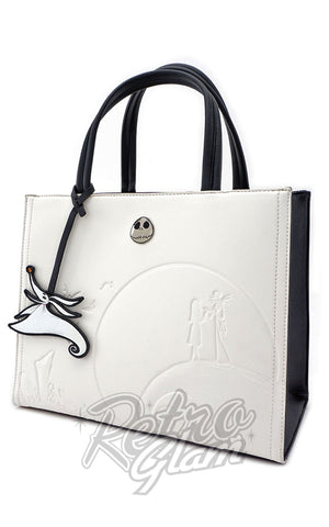 Loungefly Disney Nightmare Before Christmas White Embossed Satchel side