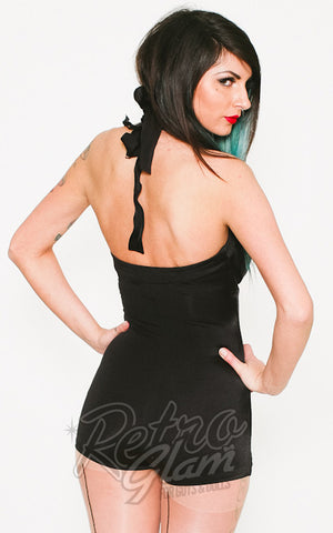 Pinup Couture Bombshell one piece swimsuit in black with pleated padded halter top