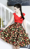 Retrolicious Madison Skirt in Ornaments Print Christmas