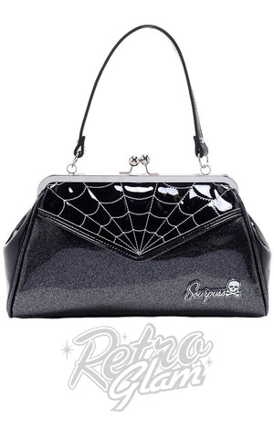 Sourpuss Backseat Baby vinyl kisslock Spiderweb Purse in Black & Silver front