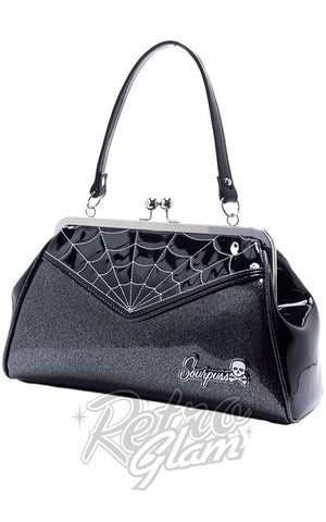 Sourpuss Backseat Baby vinyl kisslock Spiderweb Purse in Black & Silver side