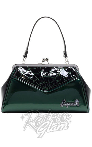 Sourpuss Backseat Baby vinyl kisslock Spiderweb Purse in Green front