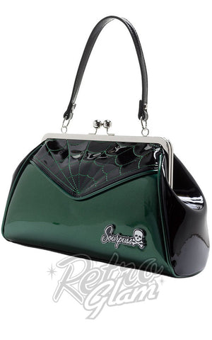Sourpuss Backseat Baby vinyl kisslock Spiderweb Purse in Green side