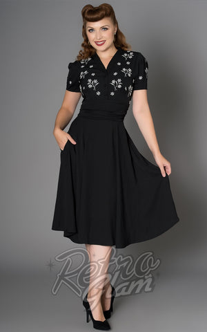 Sheen Black Embroidered Sadie Dress front
