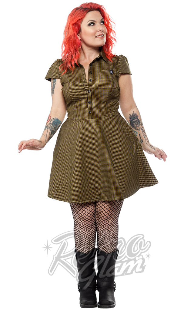 Sourpuss Check Dress in Mustard