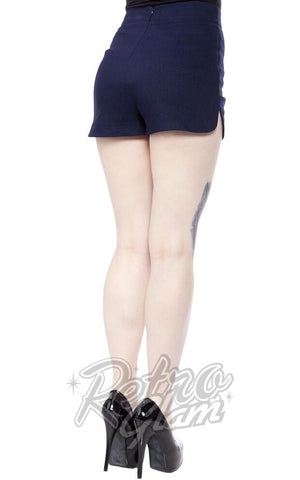 Sourpuss Sweetie Pie Shorts in Faux Denim back