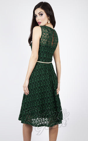 Voodoo Vixen Peacock Lace Overlay Flare Dress in Emerald Green back