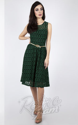 Voodoo Vixen Peacock Lace Overlay Flare Dress in Emerald Green