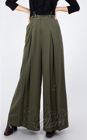 Voodoo Vixen 40's Trousers with Suspenders in Military Green back