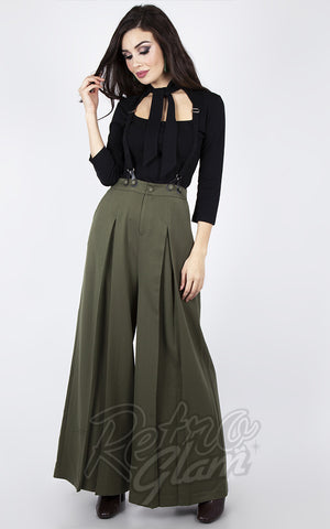 Voodoo Vixen 40's Trousers with Suspenders in Military Green