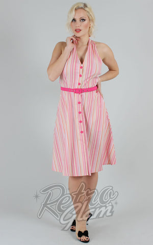 Voodoo Vixen Midge Striped Halter Neck Dress
