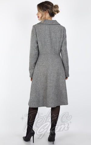 Voodoo Vixen Herringbone Dress Coat in White back