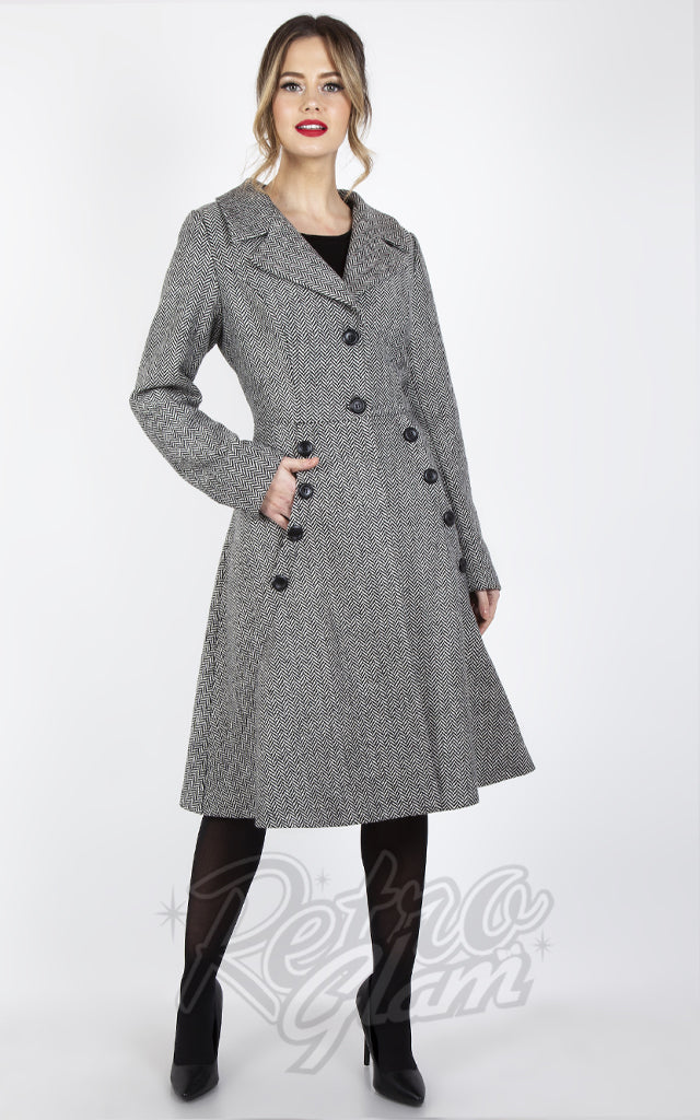 Voodoo Vixen Herringbone Dress Coat in White