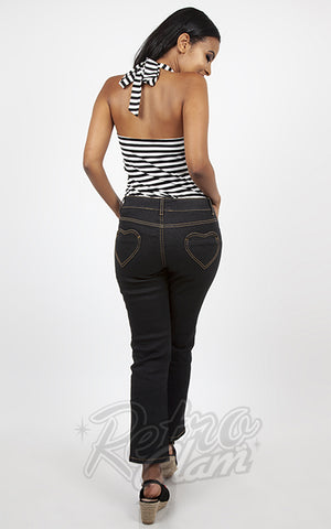Voodoo Vixen Naomi Heart Pocket Cigarette Pants in Denim back