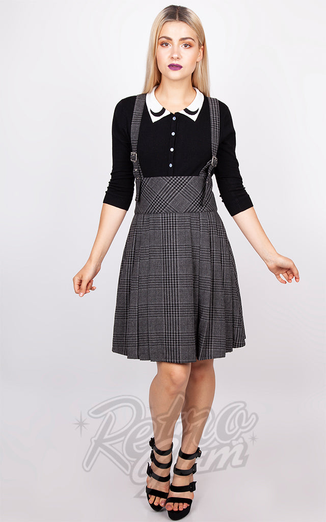 Jawbreaker Grey Tartan Suspender Skirt