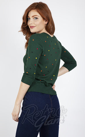 Voodoo Vixen Multicolored Polka Dot Cardigan in Green back