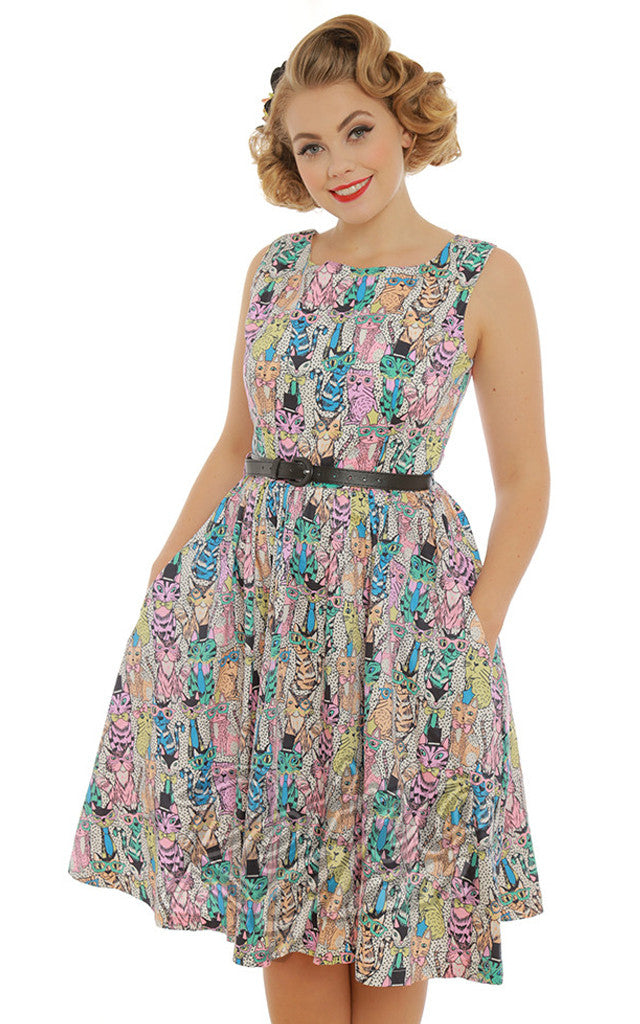 Lindy Bop Annie Dress in Clever Cat Print
