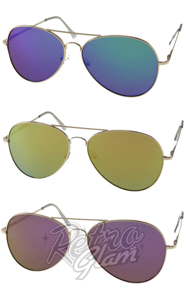 Aviator Sunglasses with Tinted Lenses in 3 Colours