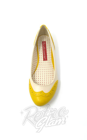 B.A.I.T Sarah Shoes in Yellow Two Tone saddle