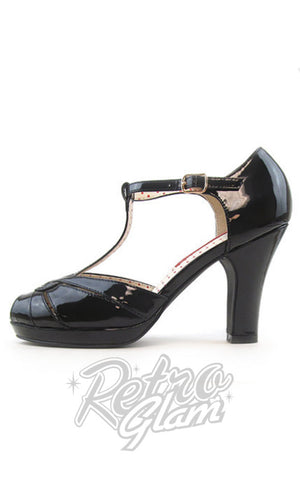 B.A.I.T black patent Lacey t-strap peep toe Heels side