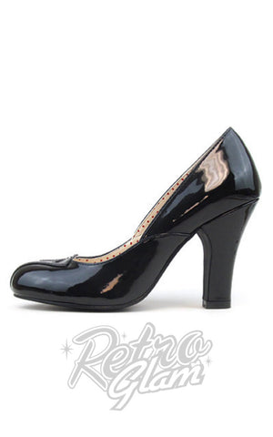 B.A.I.T patent Vonda 1940s Pumps in Black with peak on opening towards toe side