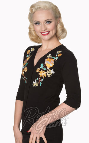 Banned Flickers vintage Cardigan in Black with yellow florals side