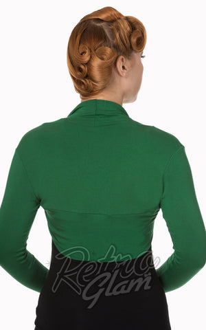 Banned Rockabilly Roxie Bolero in Forest Green Back