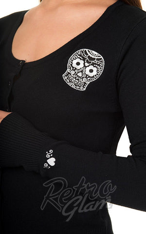 Banned Black Magic Cardigan with embroided sugar skull applique detail
