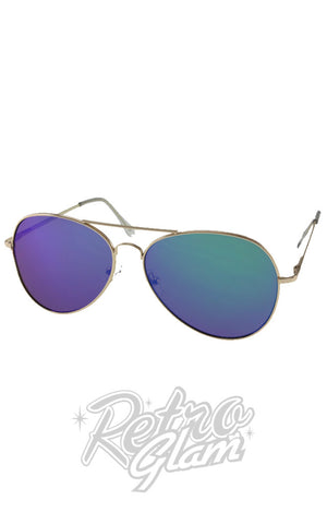 Blue Tinted Aviator Sunglasses