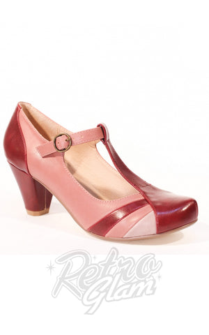 Chelsea Crew Monet T- Strap Heels in Burgundy Multi