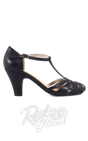 Chelsea Crew Sergi T-Strap Heels in Black side