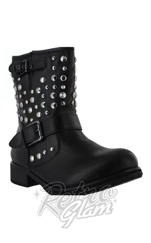 Chelse Crew studded Glade in Black with buckles