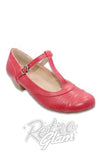 Chelsea Crew t-strap Souffle in Red with 1.5 inch heels