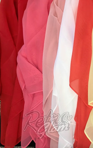 Chiffon Hair Scarf true red, geranium pink, blush pink, white, bright coral, soft yellow