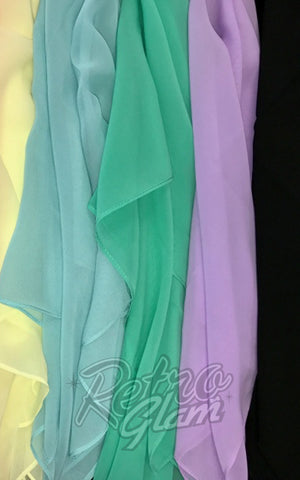 Chiffon Hair Scarves soft yellow, powder blue, spearmint, lilac, black