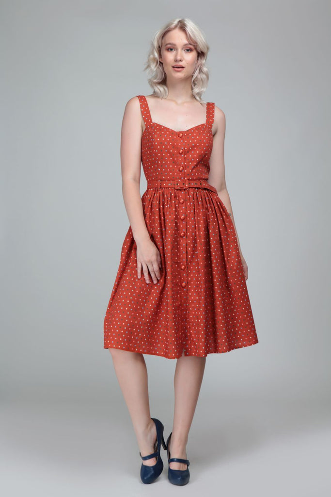 Collectif Jemima Polka Dot Swing Dress in Orange