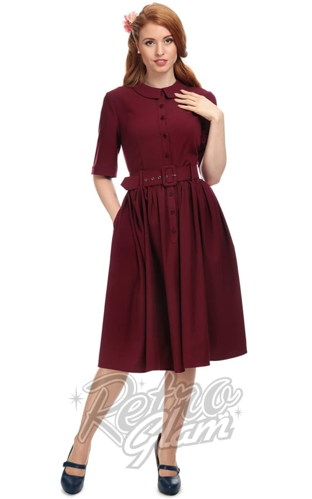 Collectif Aria Plain Shirt Swing Dress in Wine
