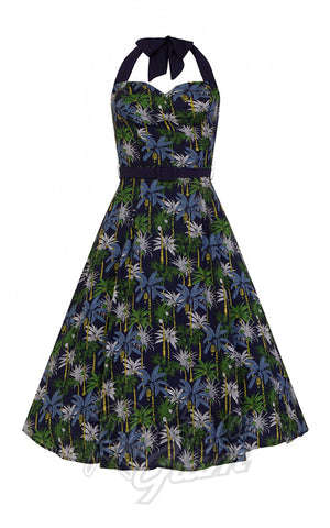 Collectif Beth Palm Tree Print Swing Dress halter