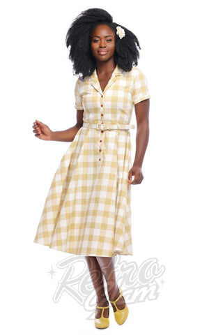 Collectif Caterina 50's Gingham Swing Dress in Mustard