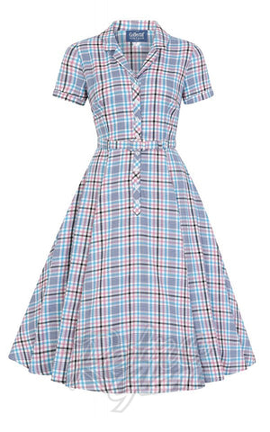 Collectif Caterina 50's Swing Dress in Vintage Blue Check detail