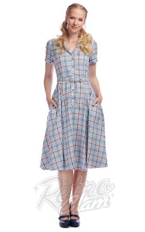Collectif Caterina 50's Swing Dress in Vintage Blue Check