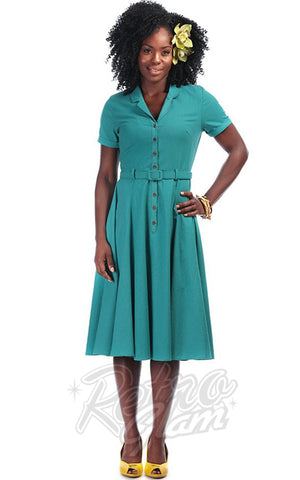 Collectif Caterina 50's Swing Dress in Teal Green