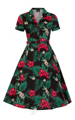 Collectif Caterina 50's Swing Dress in Tropical Paradise detail