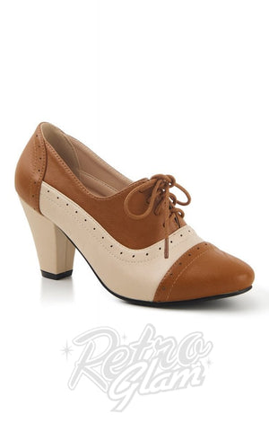 Lulu Hun Elizabeth Two Tone Shoes in Cream & Tan