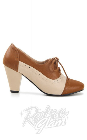 Lulu Hun Elizabeth Brogues in Cream & Tan